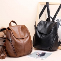 Fashion Flap Top Side Zipper Pockets Faux PU Backpack