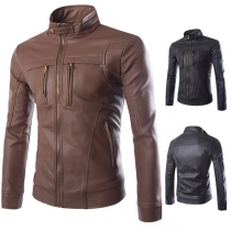 Fashion Solid Color Long Sleeve Stand Collar Men's PU Leather Jacket