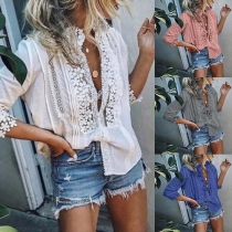 Fashion Lace Spliced Half Sleeve Stand Collar Blouse