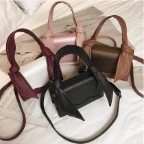 Fashion Contrast Color Knotted Shoulder Messenger Bag