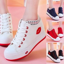 Fashion Contrast Color Flat Heel Lace-up High-top Canvas Shoes