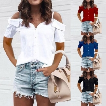 Sexy Off-shoulder Short Sleeve Solid Color Sling Blouse (The size runs small)