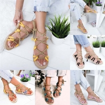 Bohemian Style Flat Heel Contrast Color Sandals