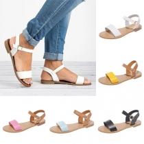 Fashion Contrast Color Flat Heel Open Toe Sandals