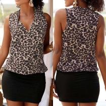 Sexy V-neck Sleeveless Leopard Printed Spliced Dress