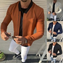 Fashion Long Sleeve Stand Collar Man's Jacket