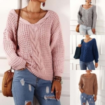 Fashion Solid Color Long Sleeve V-neck Sweater