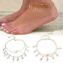 Fashion Leaf Pendant Double-layer Anklet