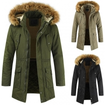 Fashion Solid Color Long Sleeve Faux Fur Spliced Hooded Man's Padded Coat