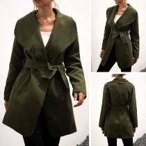 Fashion Solid Color Long Sleeve Lapel Windbreaker Coat Jacket