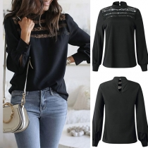 Sexy Lace Spliced Long Sleeve Round Neck Solid Color Blouse