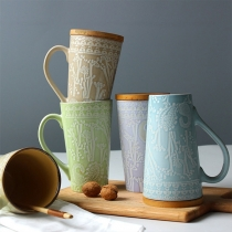 Chic Style Relief Pattern Imitation Ceramic Mug with Cover