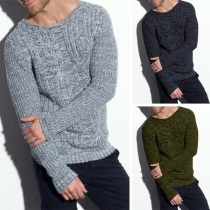 Fashion Solid Color Long Sleeve Round Neck Man's Sweater