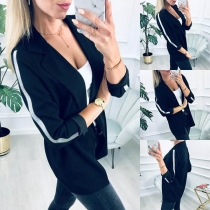 Fashion Contrast Color Long Sleeve Notched Lapel Blazer