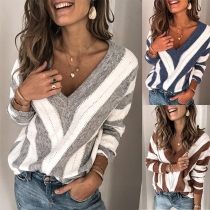 Sexy V-neck Long Sleeve Contrast Color Striped Sweater