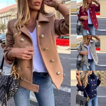 Fashion Solid Color Long Sleeve Double-breasted Thin Coat