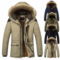 Fashion Faux Fur Spliced Hooded Plush Ling Man's Padded Coat