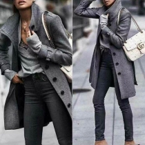 Fashion Solid Color Long Sleeve Stand Collar Single-breasted Overcoat(It falls small)