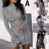 Sexy Long Sleeve Mock Neck Slim Fit Printed Dress