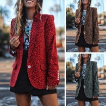 Fashion Leopard Printed Long Sleeve Blazer