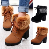 Fashion Thick Heel Round Toe Faux Fur Spliced Lace-up Martin Boots