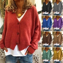 Casual Style Long Sleeve V-neck Solid Color Knit Cardigan