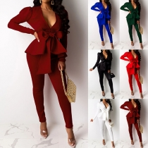 OL Style Ruffle Blazer + High Waist Pants Two-piece Set