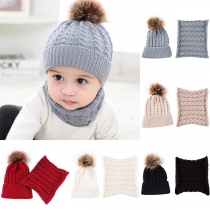 Cute Hairball Spliced Babies Knit Beanies with Scarf