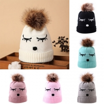 Cute Cartoon Pattern Hairball Spliced Babies Knit Beanies
