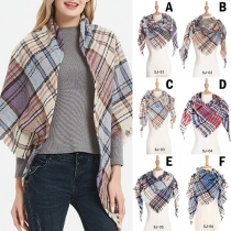 Fashion Tassel Edge Plaid Triangle Shawl Scarf