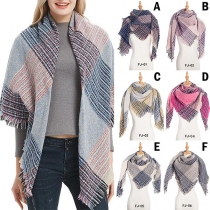 Fashion Contrast Color Plaid Shawl-style Scarf