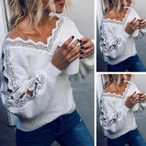 Sexy Lace Spliced Long Sleeve V-neck Loose Top