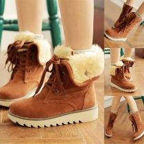Fashion Flat Heel Plush Lining Lace-up Anti-slip Snow Boots