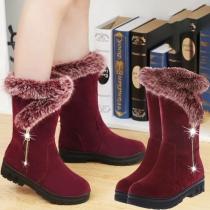 Fashion Flat Heel Round Toe Faux Fur Spliced Snow Boots