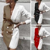 OL Style Long Sleeve Contrast Color Double-breasted Suit Coat