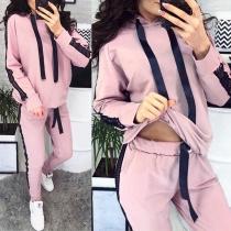 Fashion Gauze Spliced Long Sleeve Hooded Sweatshirt + Pants Sports Suit