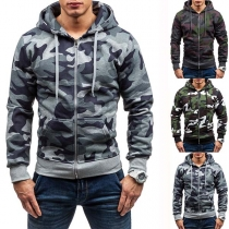 Fashion Camouflage Printed Long Sleeve Hooded Man's Sweatshirt Coat