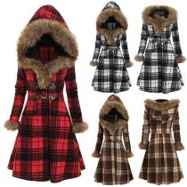 Fashion Flaux Fur Spliced Hooded Long Sleeve Plaid Thin Jacket