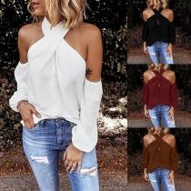 Sexy Off-shoulder Long Sleeve Solid Color Halter Top