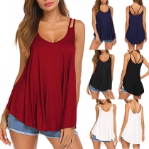 Sexy Backless U-neck Solid Color Sling Top