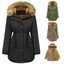 Fashion Solid Color Faux Fur Spliced Hooded Plush Lining Padded Coat