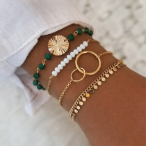 Fashion Beaded Alloy Bracelet Set 4 pcs/Set