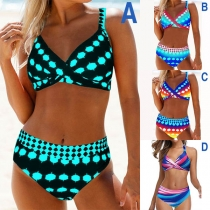 Sexy High Waist Colorful Printed Bikiini Set