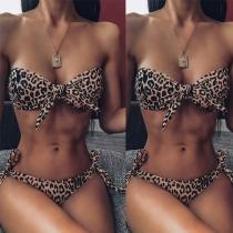 Sexy Low-waist Leopard Printed Bandeau Bikini Set