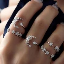 Fashion Rhinestone Inlaid Star Ring Set 5 pcs/Set