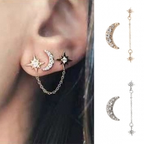 Fashion Star Crescent Shaped Asymmetric Stud Earrings