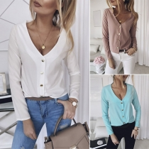 Fashion Solid Color Long Sleeve V-neck Metal Button Cardigan