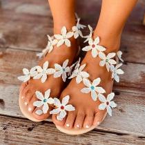 Sweet Style Flat Heel Flower Sandals