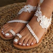 Fashion Flat Heel Lace Spliced Flower Sandals