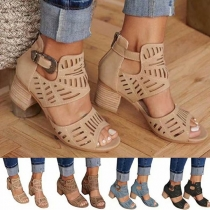 Fashion Thick Heel Peep Toe Hollow Out Sandals